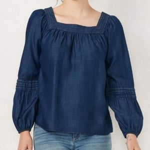 LC Lauren Conrad Chambray Bubble Sleeve Top Size L